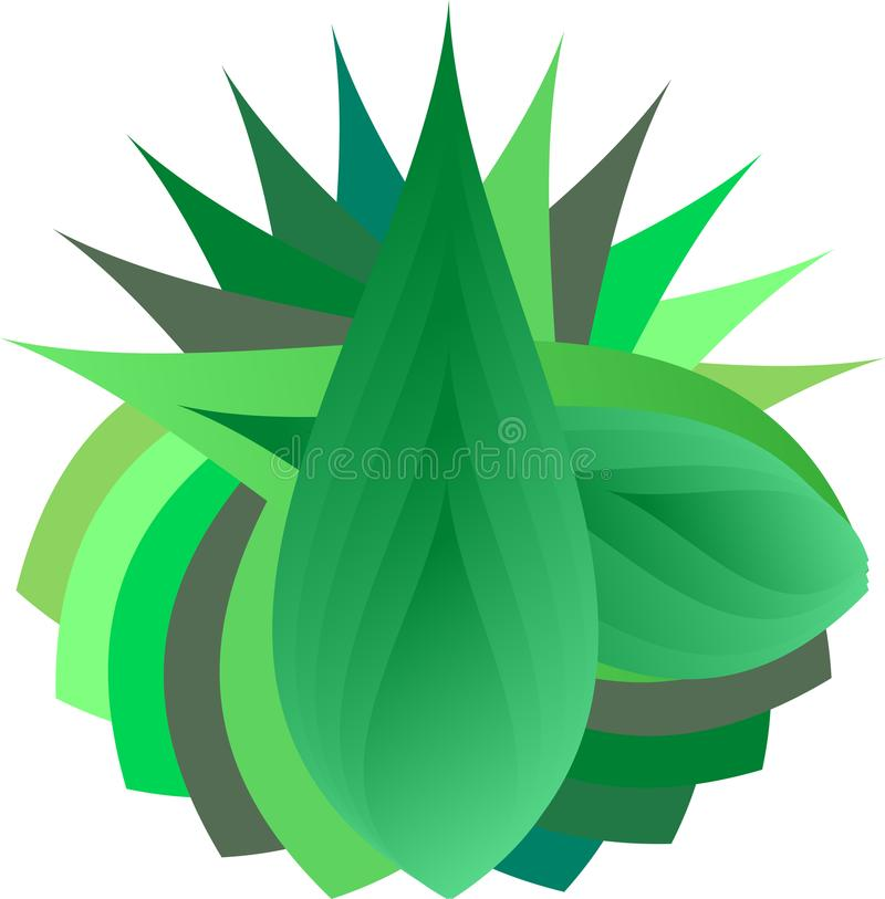 Leaf Design. An abstract design art is illustrated with green leaf layers as theme vector illustration