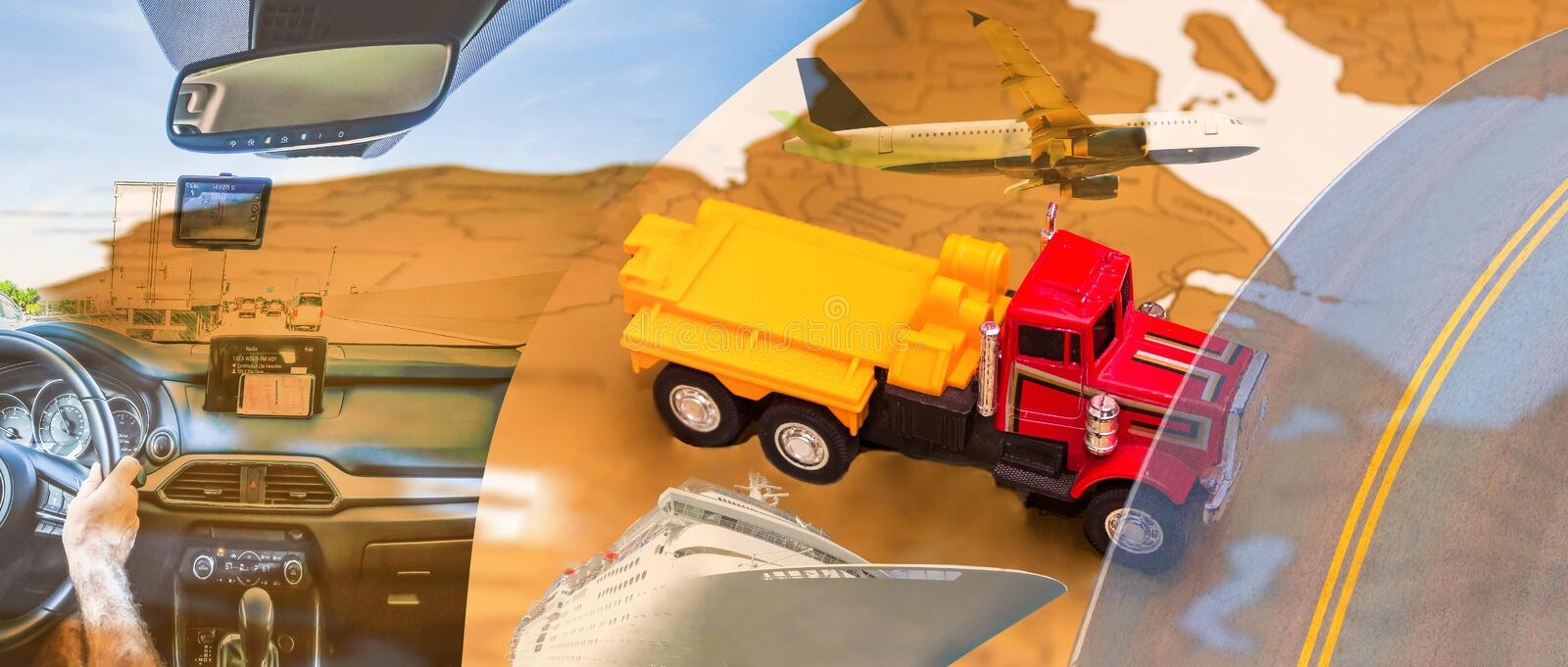 Abstract design background. Trucks and transport stock photo