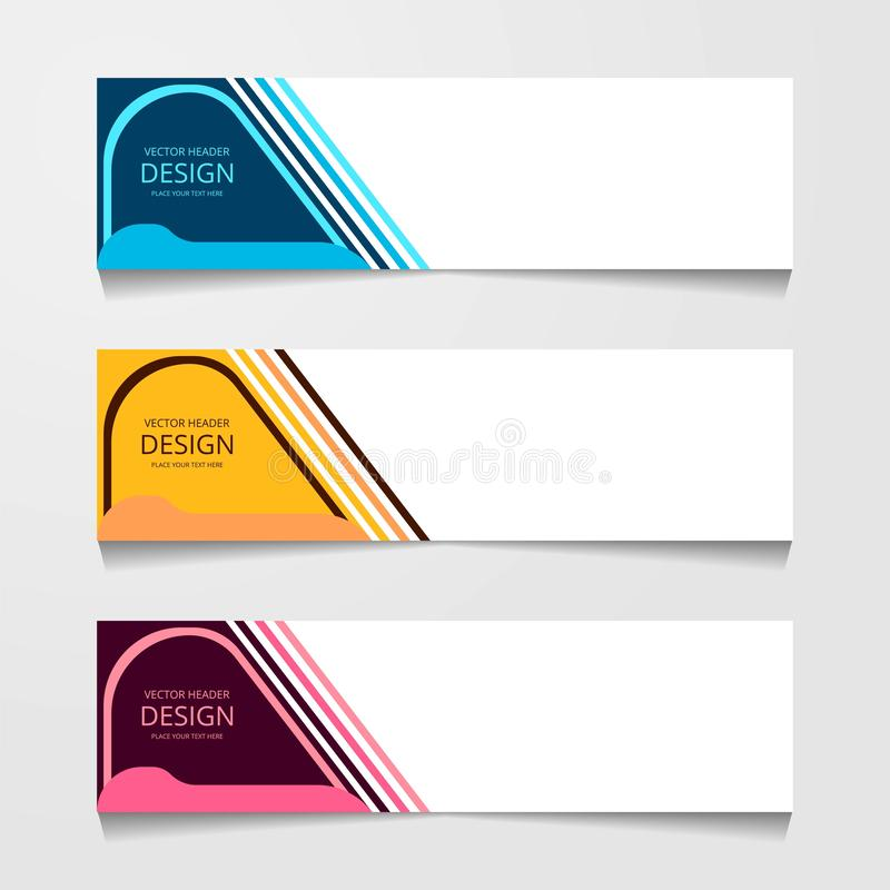 Abstract design banner, web template with three different color, layout header templates, modern vector illustration. Abstract design banner, web template with stock photography