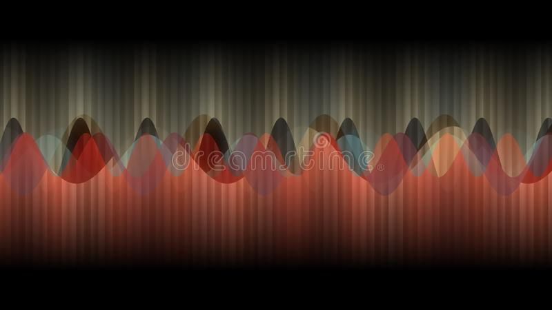 Abstract design, Black background, texture of Multiple vertical Lines, Music Waves, Orange and golden colours vector illustration