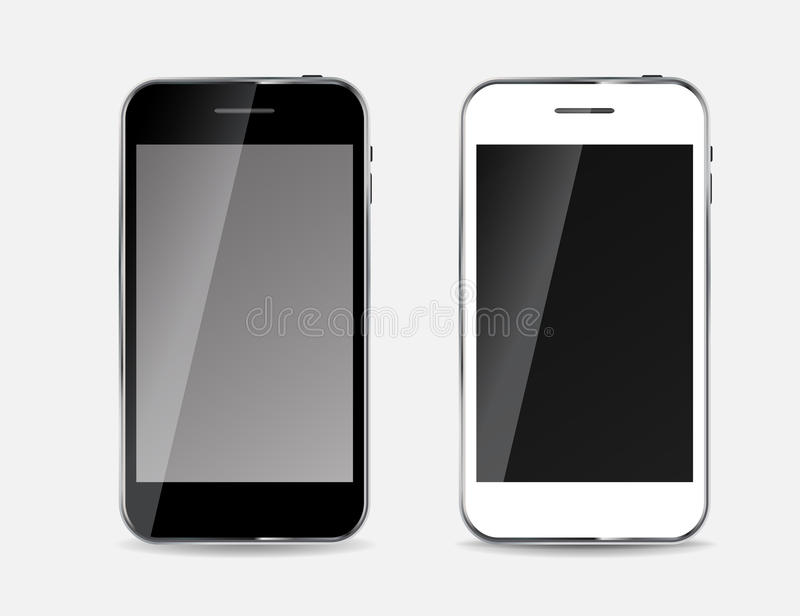 Abstract Design Black and White Mobile Phones. Vector Illustration stock illustration