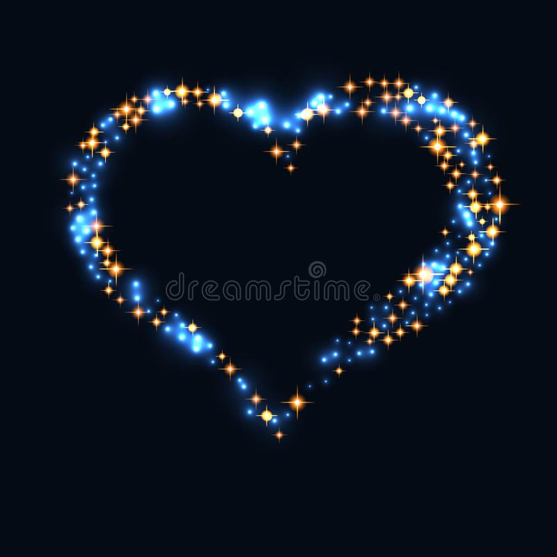 Abstract design - blue glitter particles in heart shape. Glowing sparkling particles on dark background stock illustration