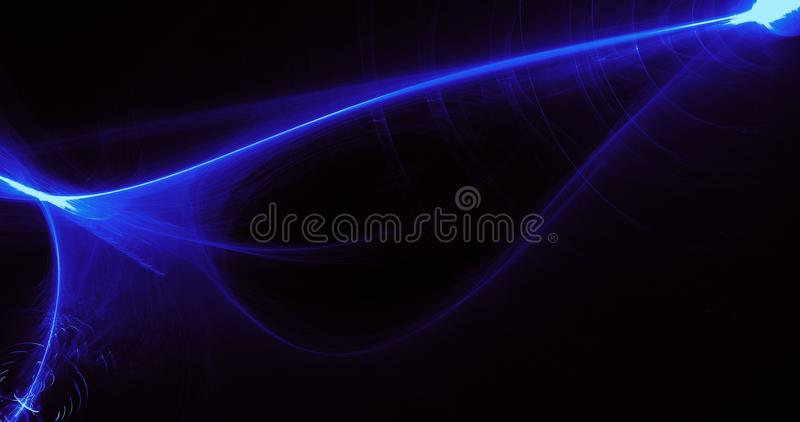 Blue Abstract Lines Curves Particles Background. Abstract Design In Blue Lines Curves Particles On Dark Background vector illustration