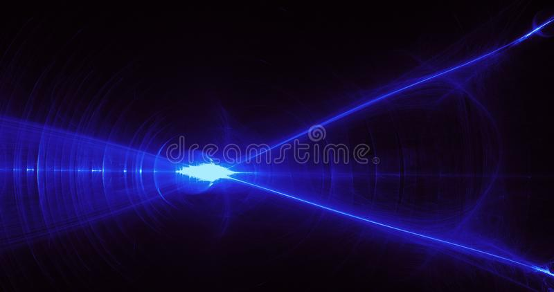 Blue Abstract Lines Curves Particles Background. Abstract Design In Blue Lines Curves Particles On Dark Background stock illustration