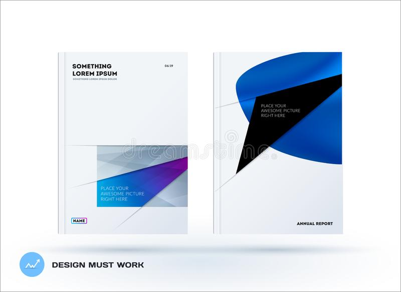 Abstract design brochure cover, creative flyer in A4 with colourful shapes for branding, marketing kit stock images