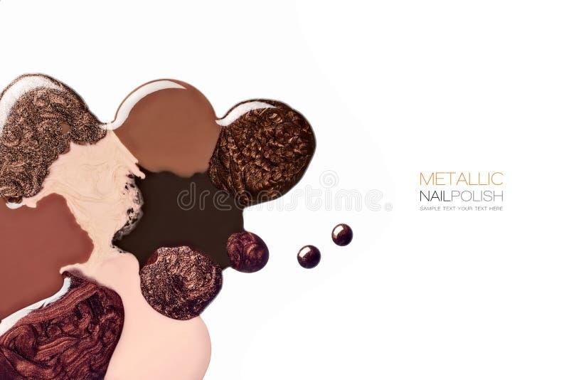 Abstract Design Of Brown And Metallic Nail Polish Stock Image ...