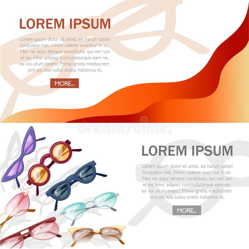 Abstract design concept with eyeglasses. Marketing flat illustration. Colorful eyeglasses on white background royalty free illustration