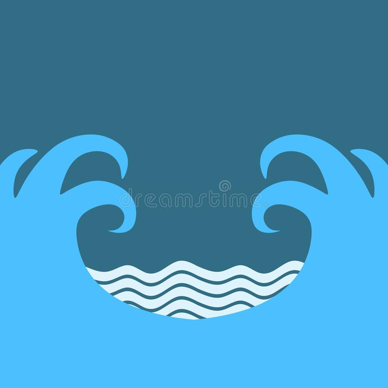 Abstract design creativity background of two large blue waves and little waves with white foam on sky backdrop in vector stock illustration