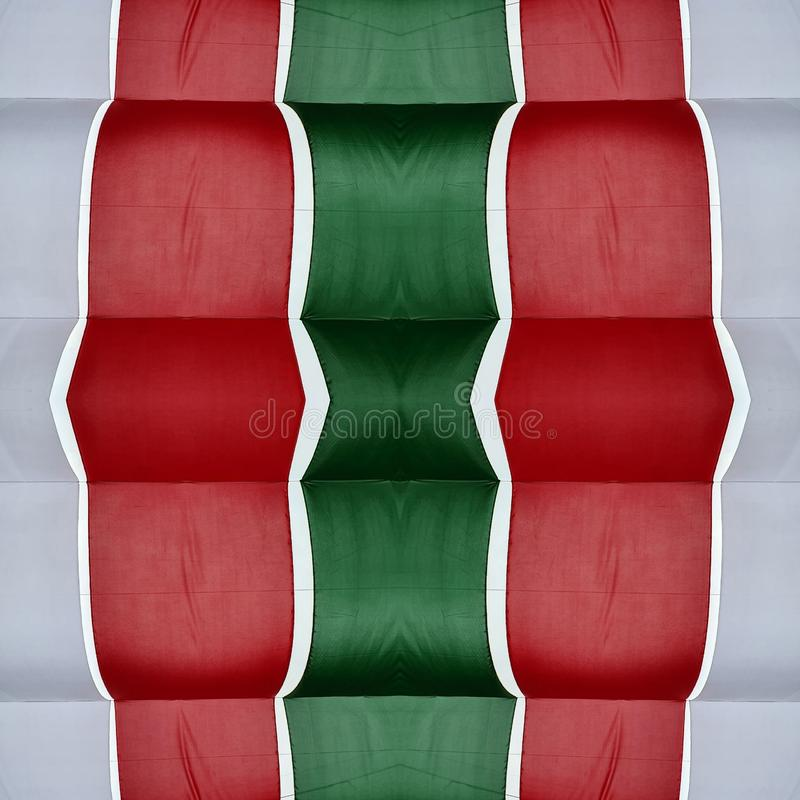 Abstract design with cuts of fabric in green, white and red color, background and texture. Effect, symmetry, geometric, geometry, pattern, creativity, creative vector illustration