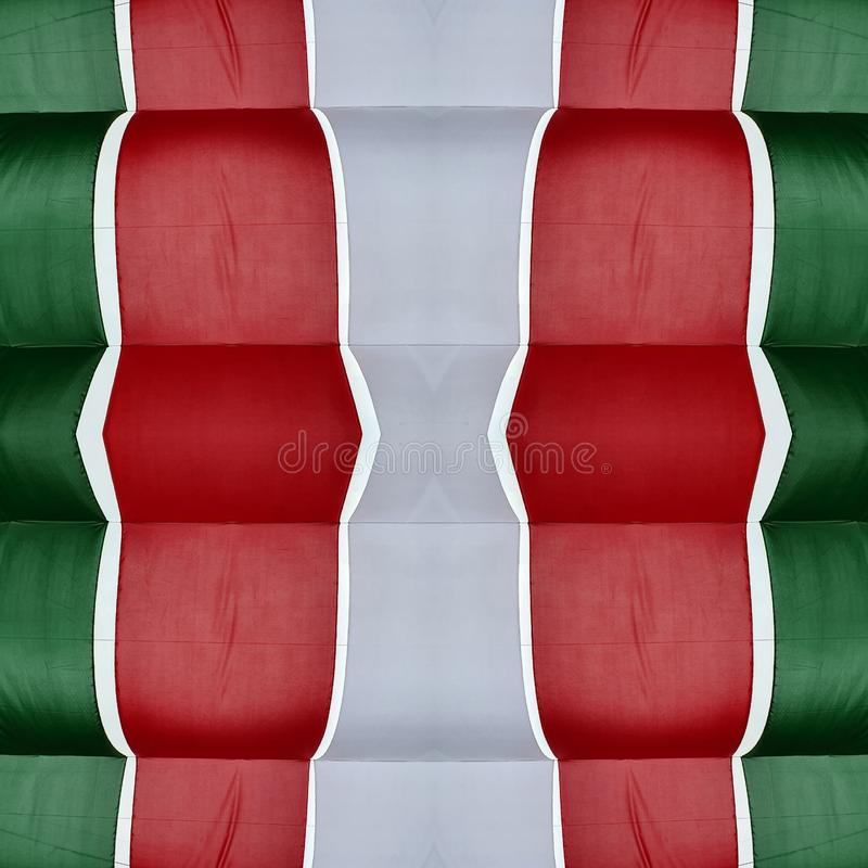 Abstract design with cuts of fabric in green, white and red color, background and texture. Effect, symmetry, geometric, geometry, pattern, creativity, creative stock illustration