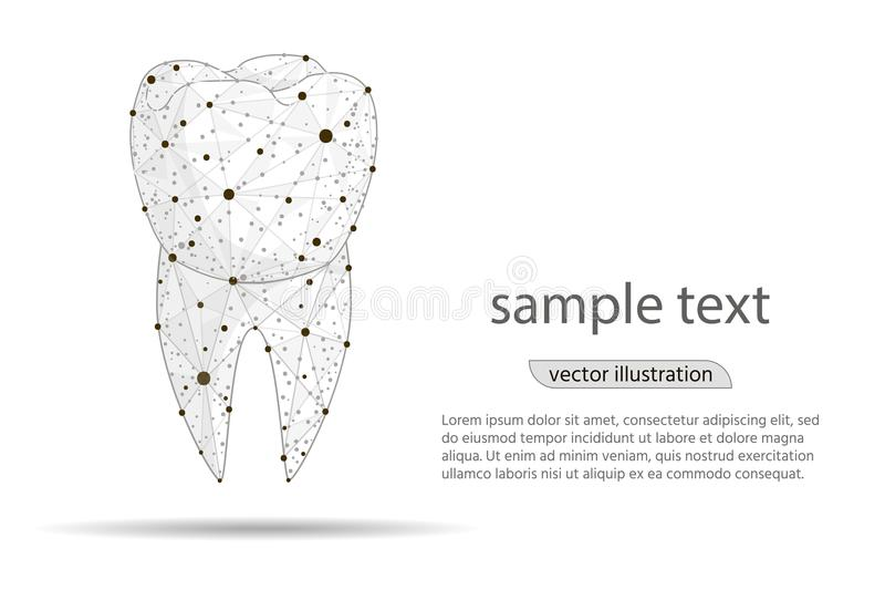 Abstract design dental dental clinic, logo isolated from low poly wireframe on white background. Vector abstract royalty free illustration
