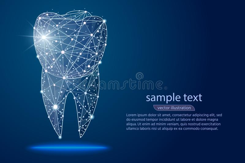 Abstract design dental dental clinic, logo low poly wireframe. Vector abstract polygonal image mash line and point stock illustration