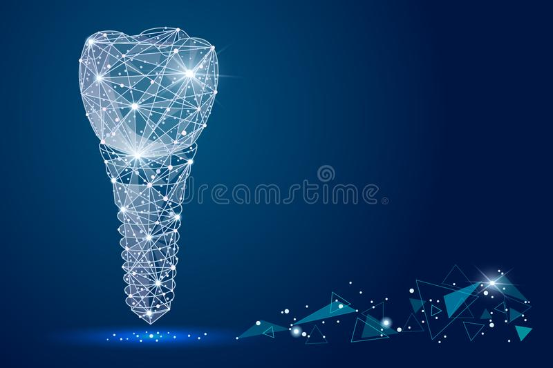 Abstract design dental implant Icon,isolated from low poly wireframe on the background of space . abstract polygona royalty free illustration
