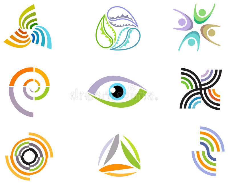Abstract design elements and icons. Illustrated abstract design elements and icons stock illustration