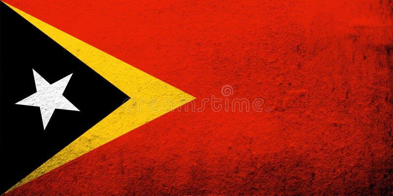 The Democratic Republic of Timor-Leste East Timor National flag. Grunge background stock photo