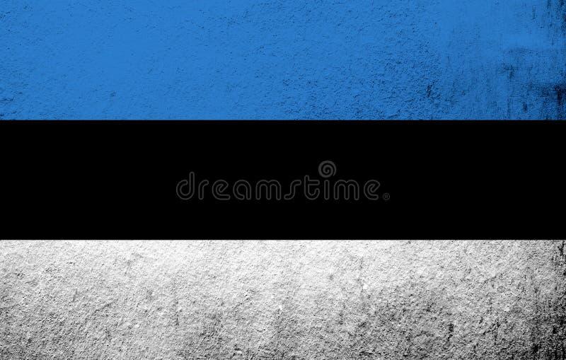 The Republic of Estonia national flag `sinimustvalge`. Grunge background stock photo