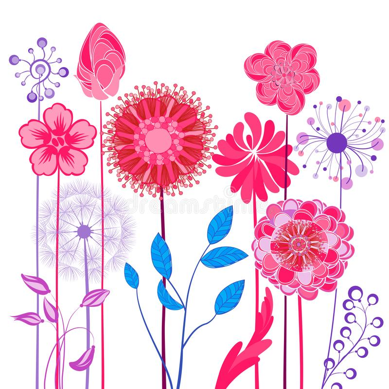 Abstract design flowers. Spring, summer floral background royalty free illustration