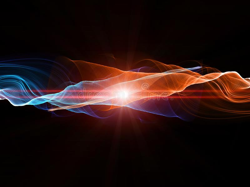 Abstract design with flowing lines in hot and cold colours royalty free illustration