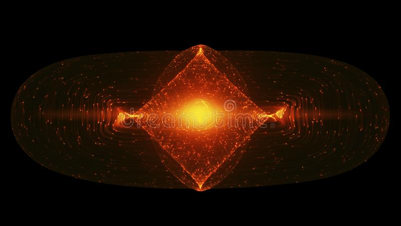 Abstract Design With Glowing Light Particles Orbiting Around A Tokamak Or Doughnut-Shaped Device. Concept Antigravity, Magnetic Field, Singularity vector illustration