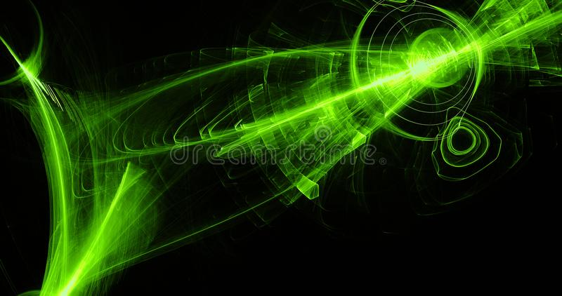 Green Abstract Lines Curves Particles Background. Abstract Design In Green Lines Curves Particles On Dark Background vector illustration