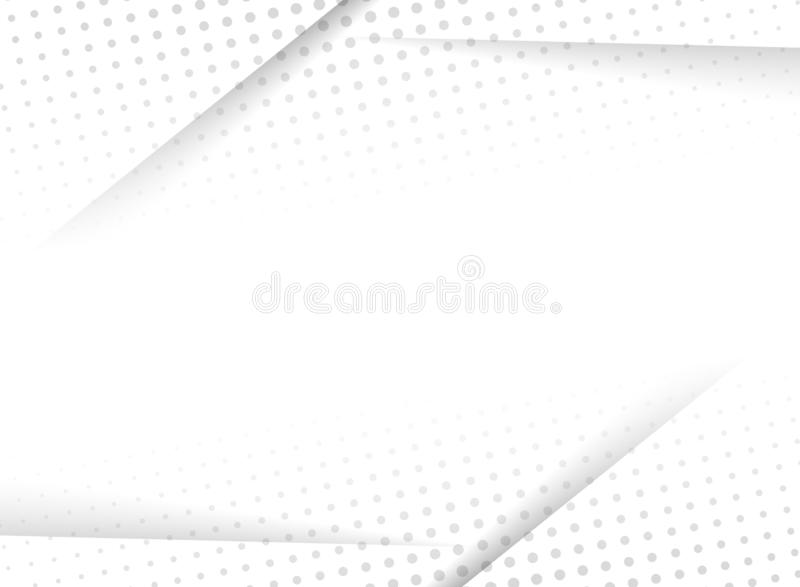 Abstract design halftone white and grey background. Decorative website layout or poster, banner, brochure, print, ad. Vector illustration stock illustration