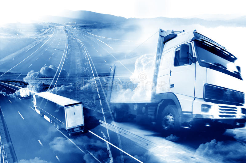 Abstract Design international shipment and highway stock image