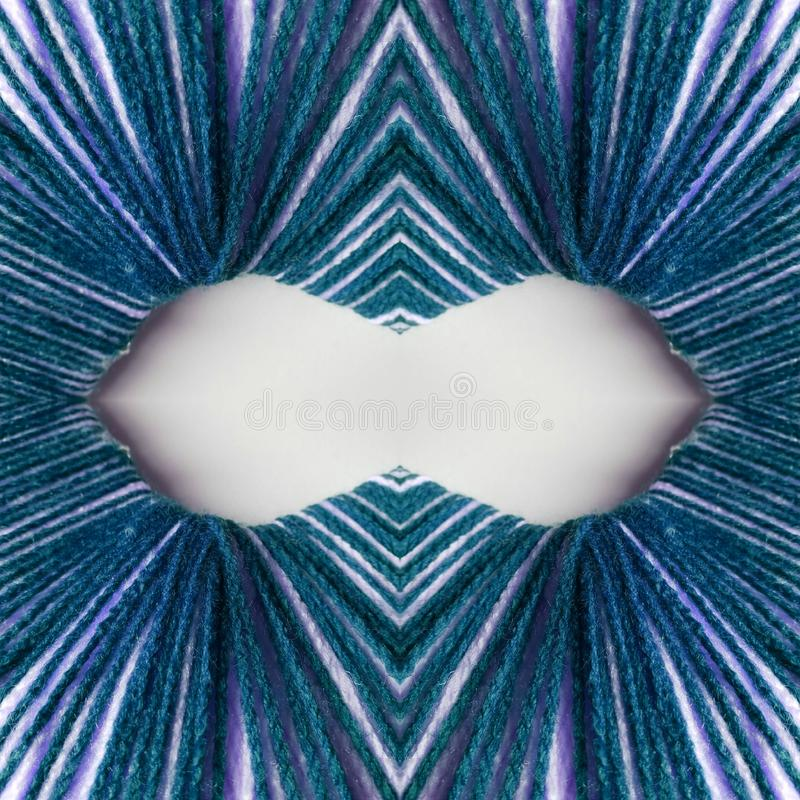 abstract design with lines and geometric patterns on a surface with blue and white threads, background and texture vector illustration
