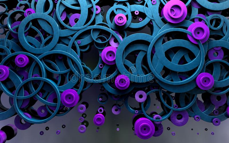 Abstract design of loops and rings.3d illustration. Blue and black circles and geometric shapes background abstract design pattern wallpaper graphic loop ring royalty free stock photography