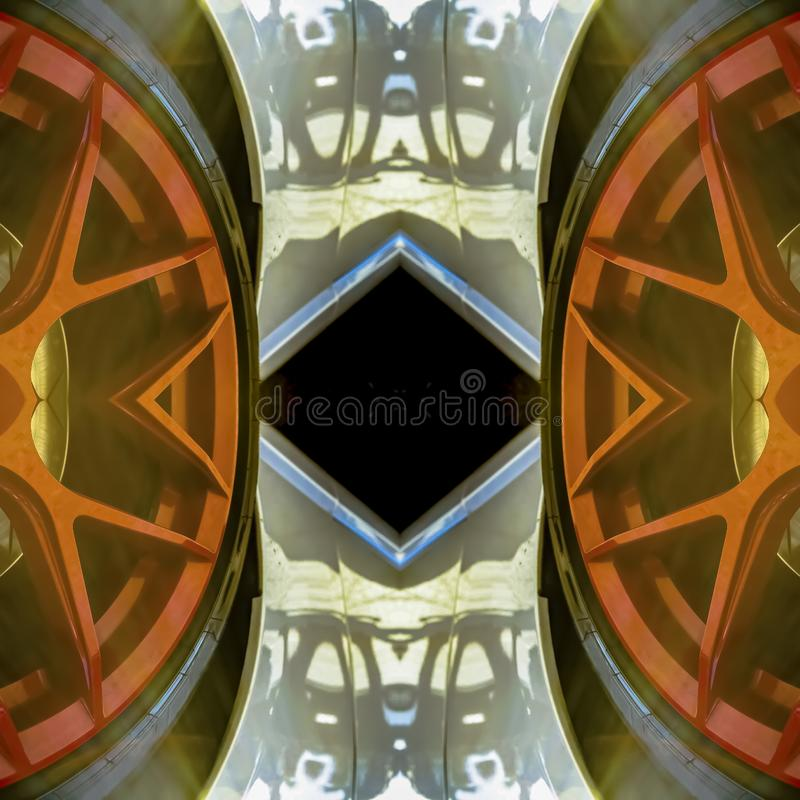 Abstract design made from red car rims. Geometric kaleidoscope pattern on mirrored axis of symmetry reflection. Colorful shapes as a wallpaper for advertising stock illustration
