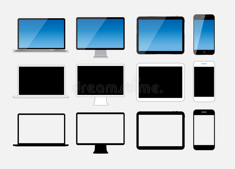 Abstract Design Mobile Phone, Laptop and Tablet PC. Vector Illus royalty free illustration