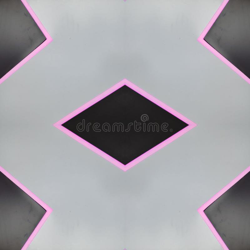 Abstract design with neon light lines in pink and gray background. Backdrop for colors related ads, geometric pattern with reflection effect and symmetry vector illustration