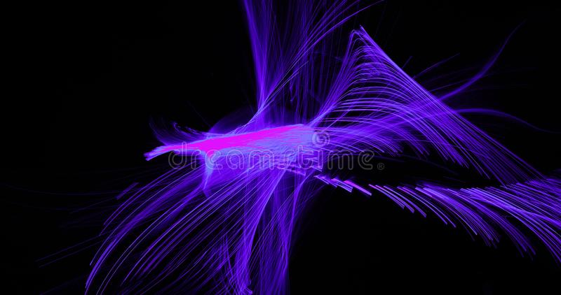 Purple Blue Pink Abstract Lines Curves Particles Background. Abstract Design In Purple Blue Pink Lines Curves Particles On Dark Background vector illustration