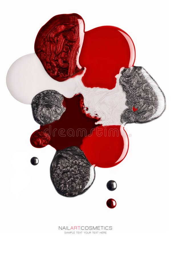 Abstract design of red and silver nail polish royalty free stock images