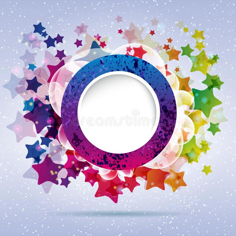 Abstract design round frame on a background with stars. Vector illustration stock illustration