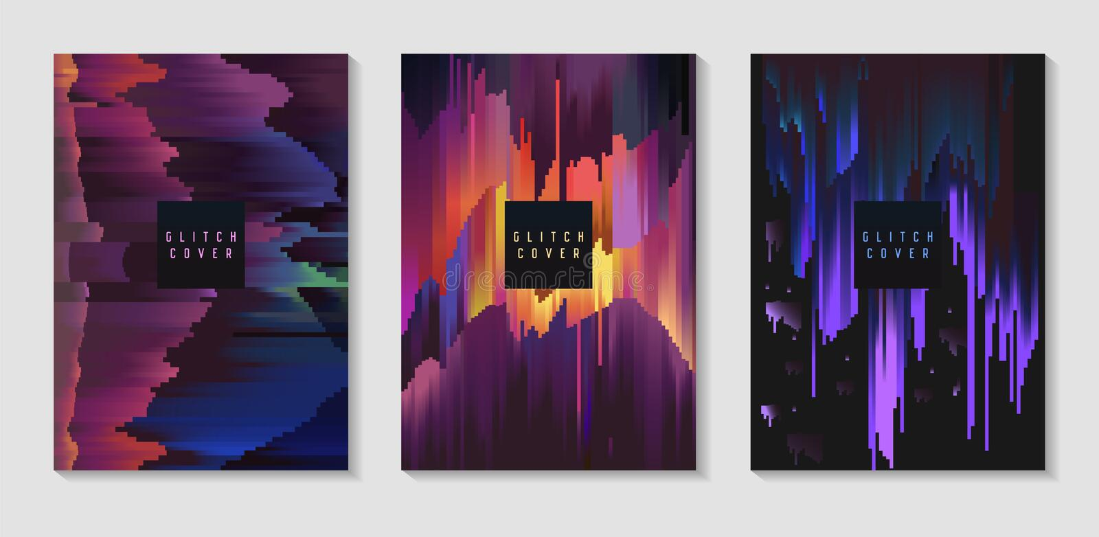 Abstract Design Set in Glitch Style. Trendy Background Templates with Geometric Shapes for Posters, Covers royalty free illustration
