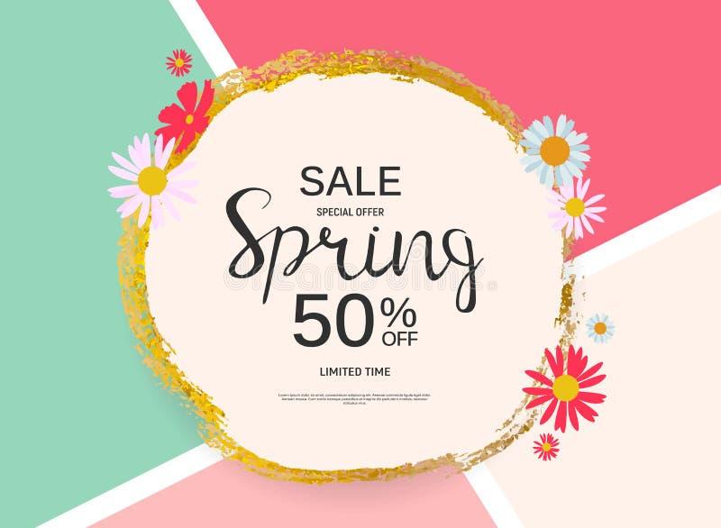 Abstract Design Spring Sale Banner Template. Vector Illustration stock illustration