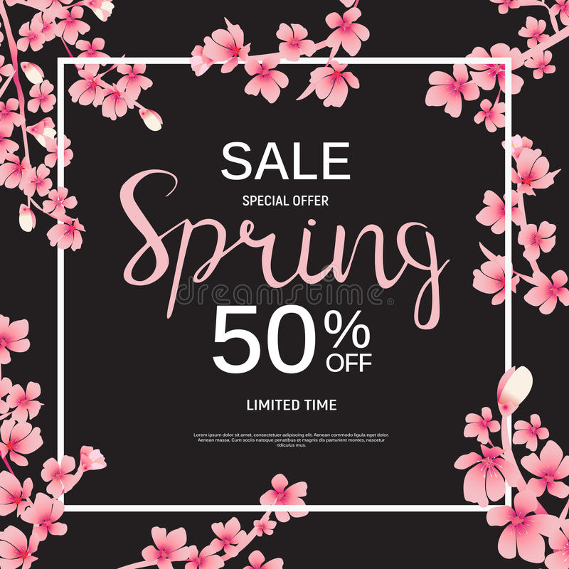 Abstract Design Spring Sale Banner Template. Vector Illustration vector illustration