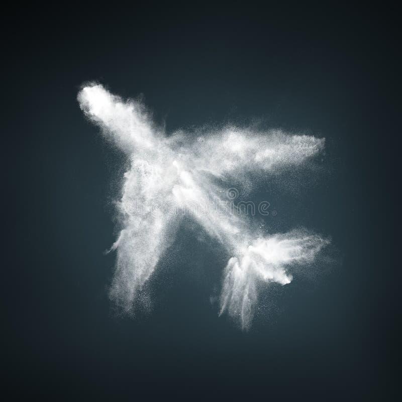 Abstract design of white powder airplane shape stock photos