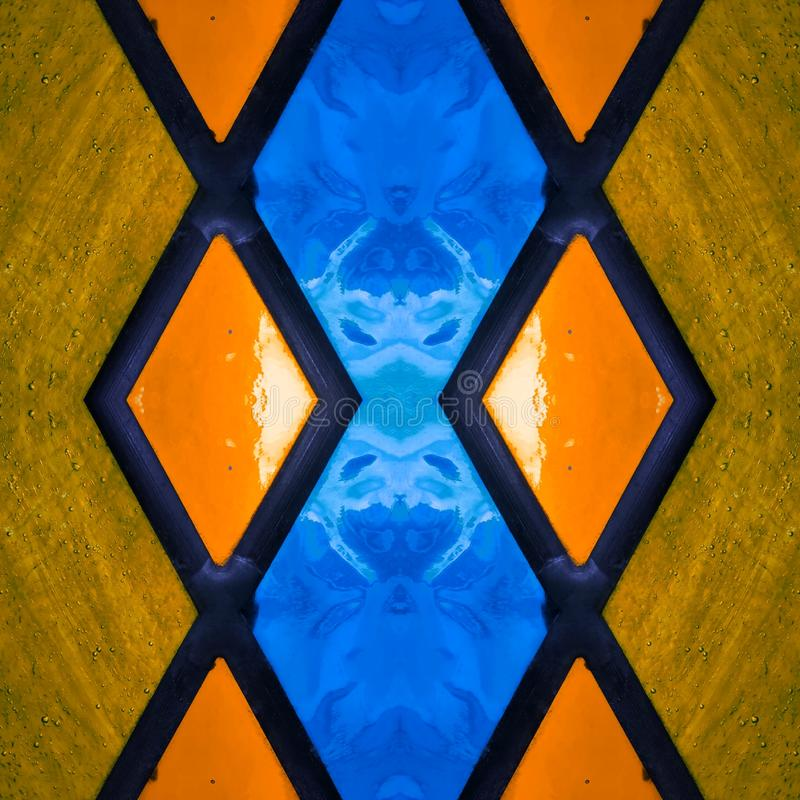 Free Abstract Design With Stained Glass In Blue And Orange Colors, Background And Texture Royalty Free Stock Image - 143869986