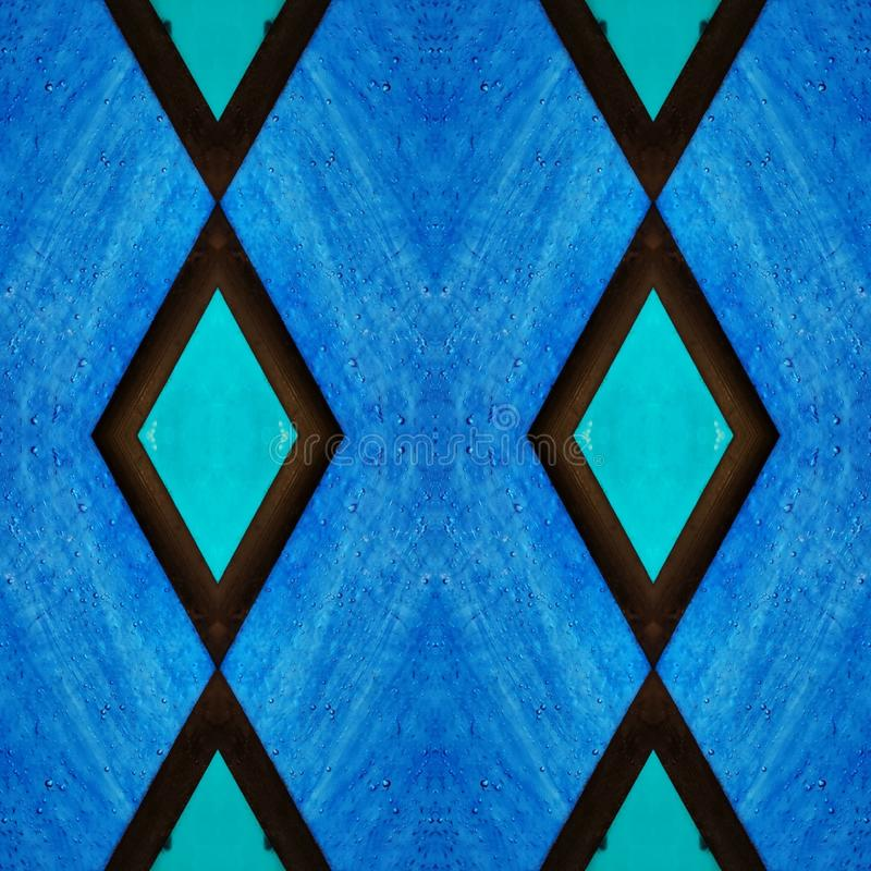 Free Abstract Design With Stained Glass In Blue Colors, Background And Texture Stock Photography - 143869872