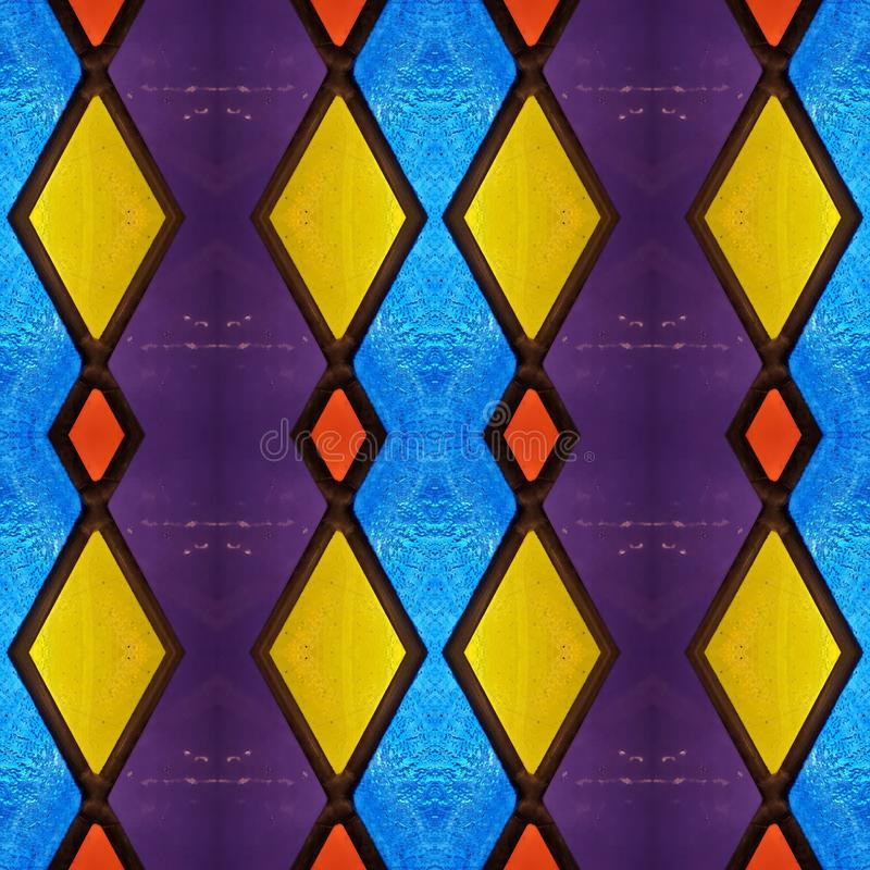 Free Abstract Design With Stained Glass In Various Colors, Material For Decoration Of Windows, Background And Texture Stock Photography - 143869792