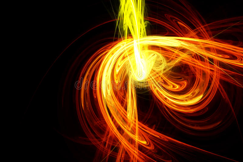Abstract design with yellow and orange light waves stock illustration