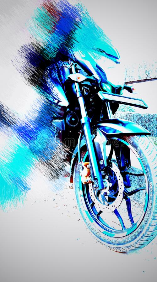 Abstract designed background of bike front with color stock photo