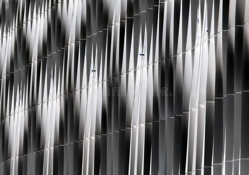Abstract detail of steel vertical curved cladding royalty free stock photography
