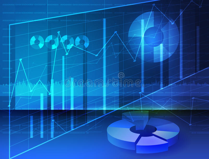 Abstract Diagrams, Stock media Image digital graphs. With blue background stock illustration