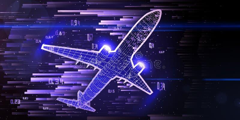 Abstract die lijnvliegtuig met gloedlijnen wordt geconstrueerd Grote Gegevens Overzichts wireframe concept Reis, toerisme, vervoe royalty-vrije illustratie