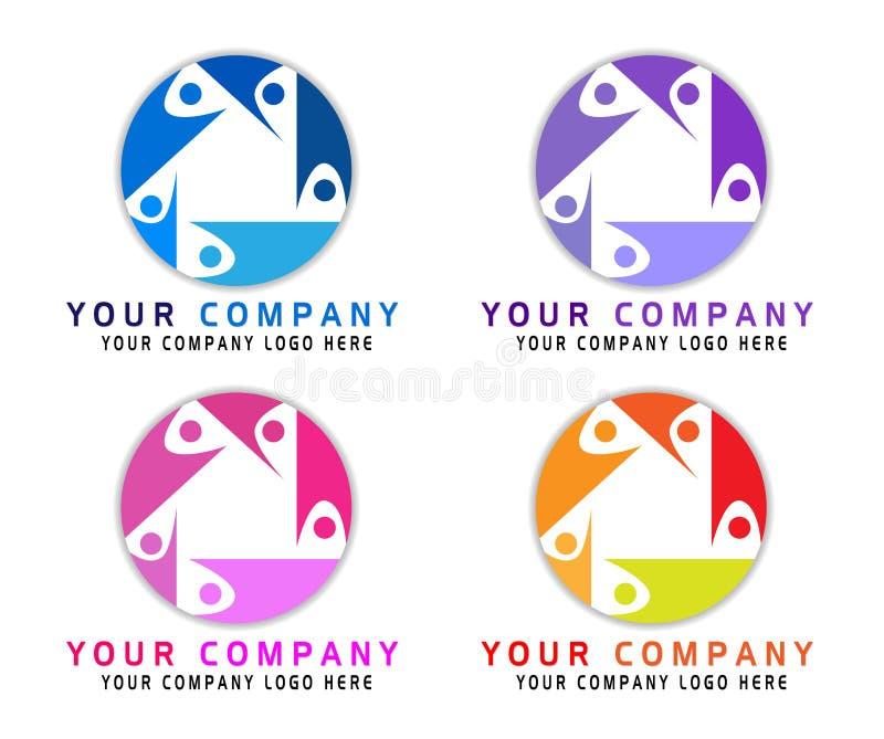 Abstract die mensenembleem voor bedrijf wordt geplaatst Technologie, het Sociale Media idee van Logotype De mensen verbinden, omc stock illustratie