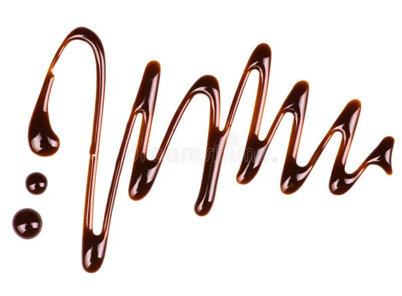Abstract die patroon van chocolade op witte achtergrond wordt gemaakt stock fotografie