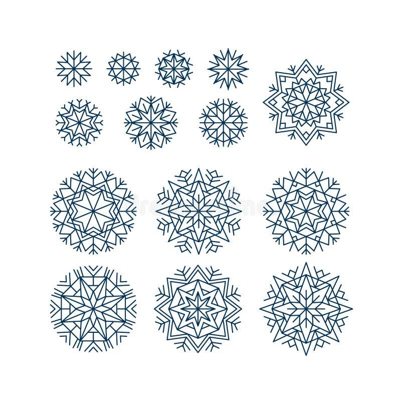 Abstract die sneeuwvlokkenelement in lijnstijl wordt geplaatst royalty-vrije illustratie