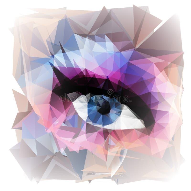Abstract die vrouwenoog van veelhoeken wordt gecreeerd stock illustratie